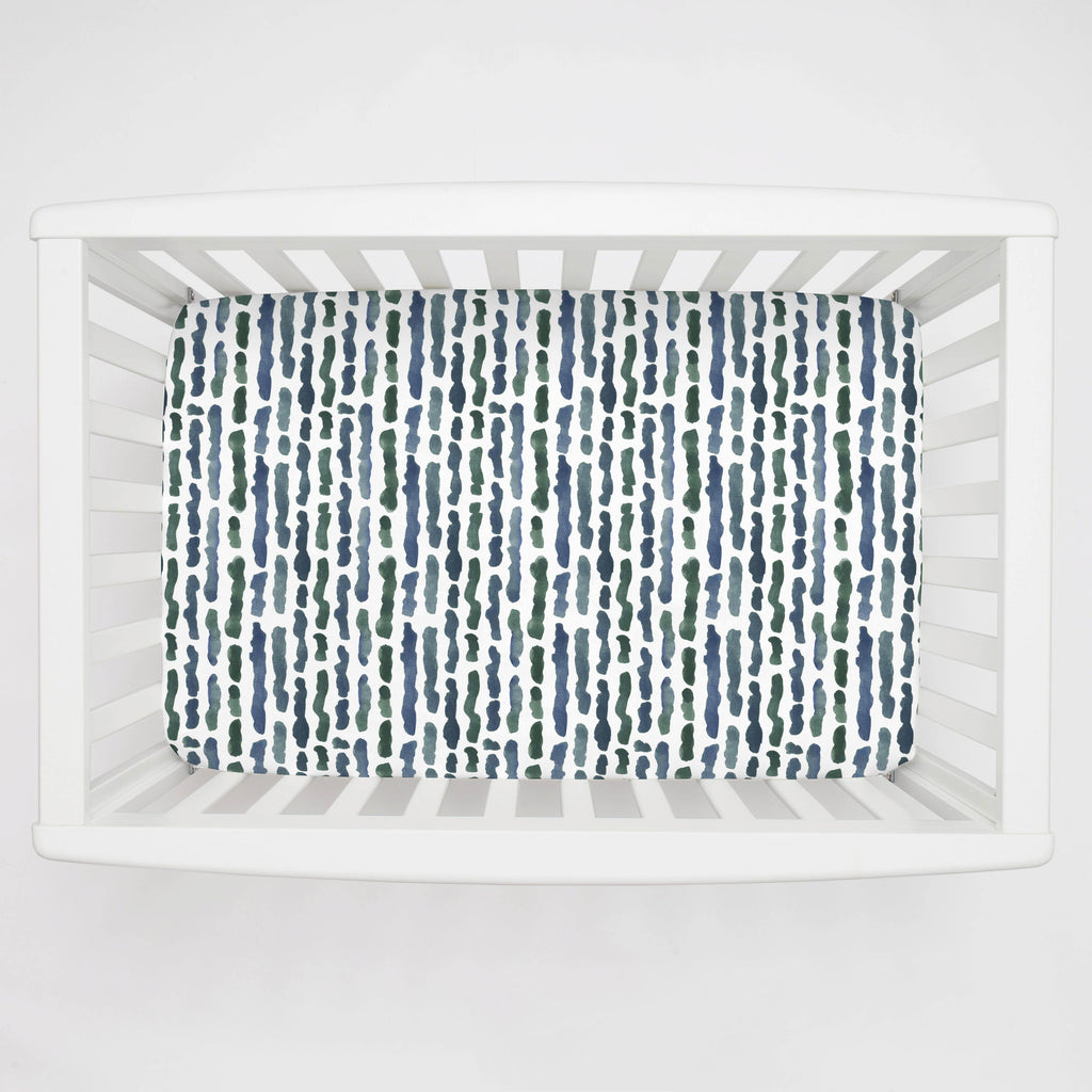 Product image for Sea Green Stripe Mini Crib Sheet