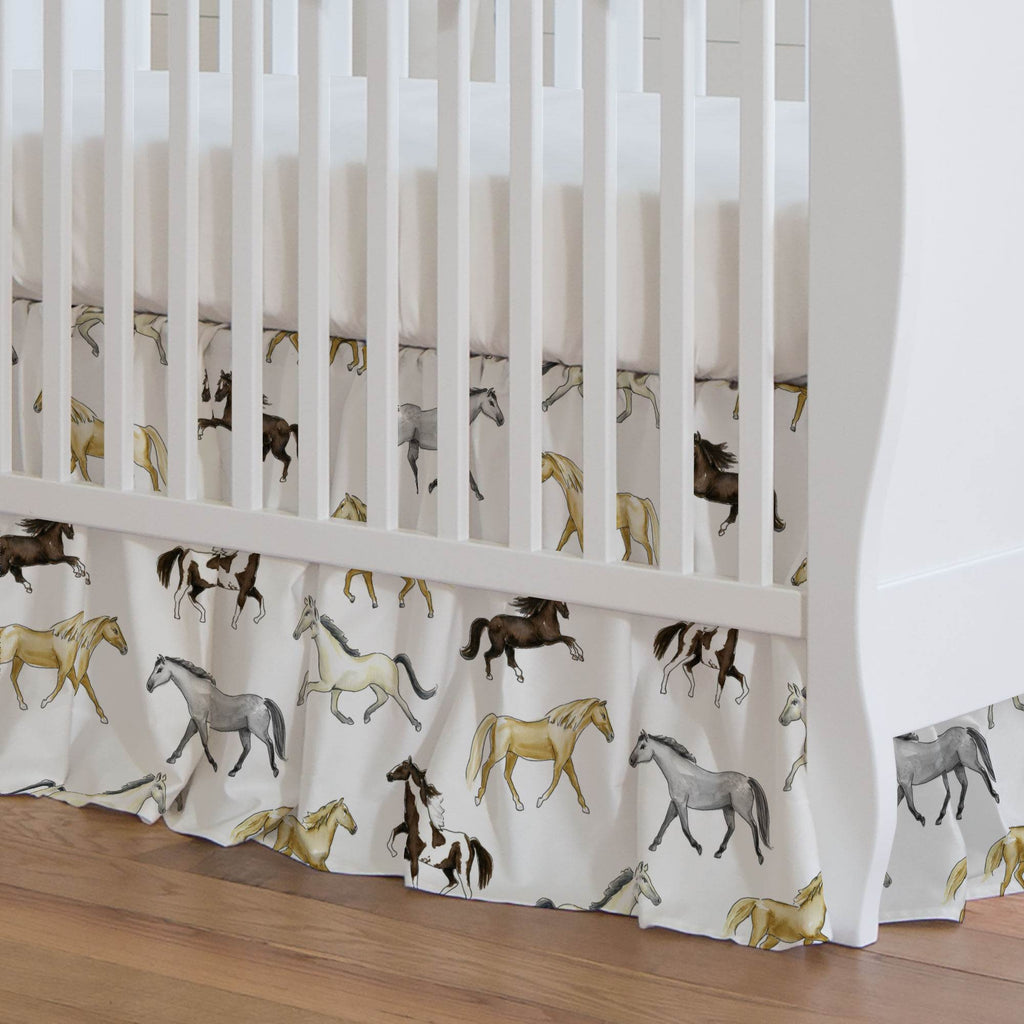 Product image for Watercolor Horses Crib Skirt Gathered