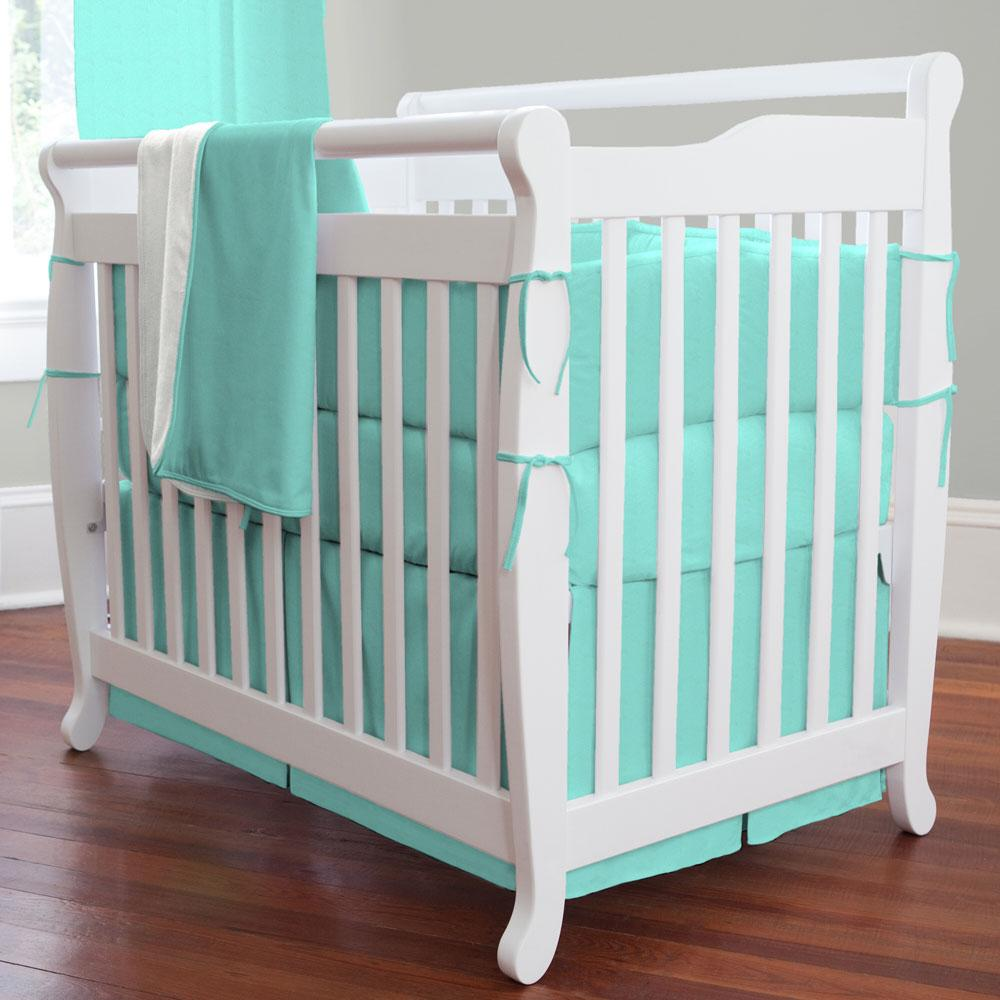 Product image for Solid Teal Mini Crib Skirt