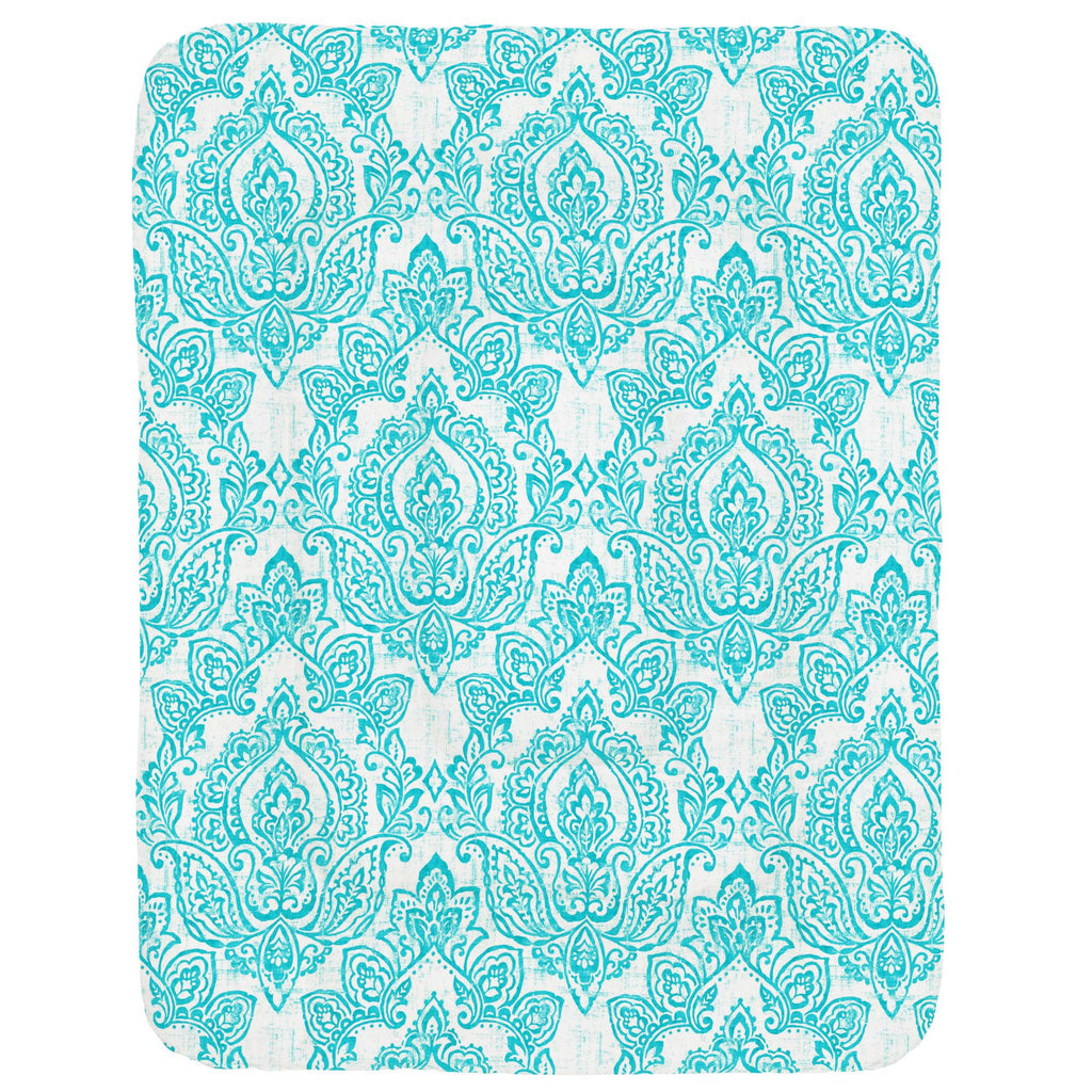 Product image for White and Teal Vintage Damask Crib Comforter