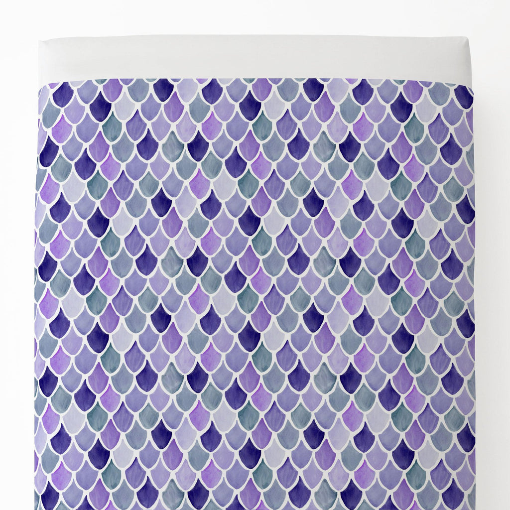 Product image for Lilac Watercolor Scales Toddler Sheet Top Flat