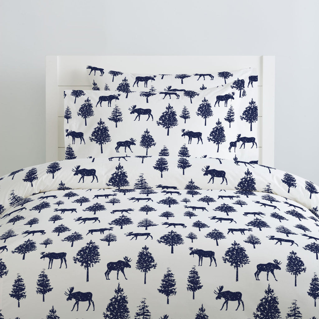 Product image for Navy Moose Duvet Cover