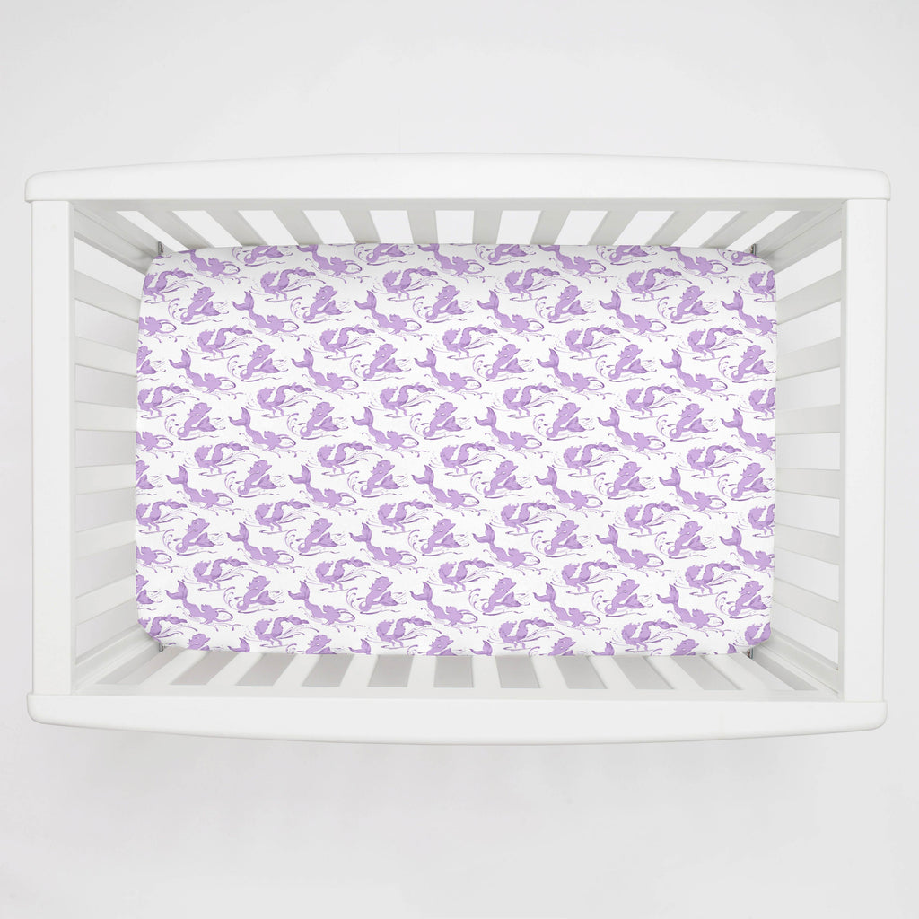Product image for Purple Swimming Mermaids Mini Crib Sheet