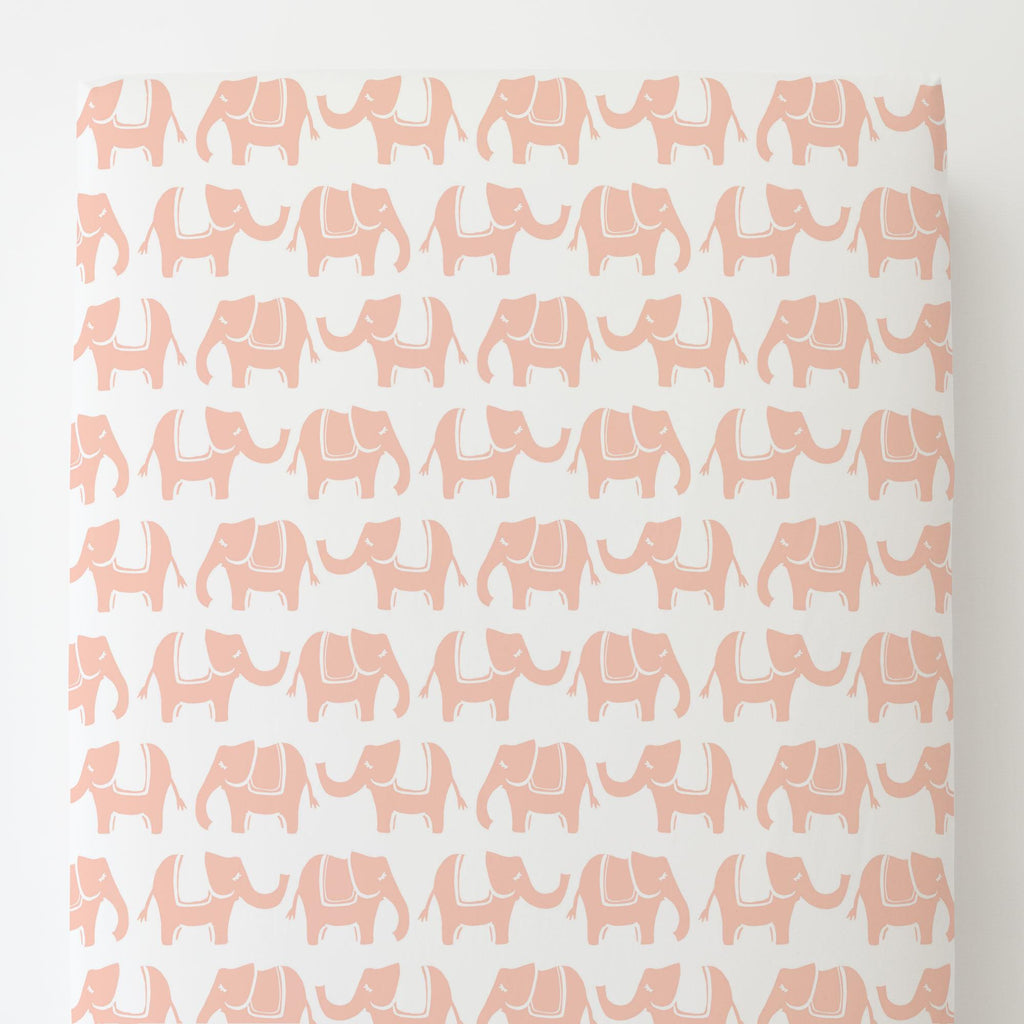 Product image for Peach Marching Elephants Toddler Sheet Bottom Fitted