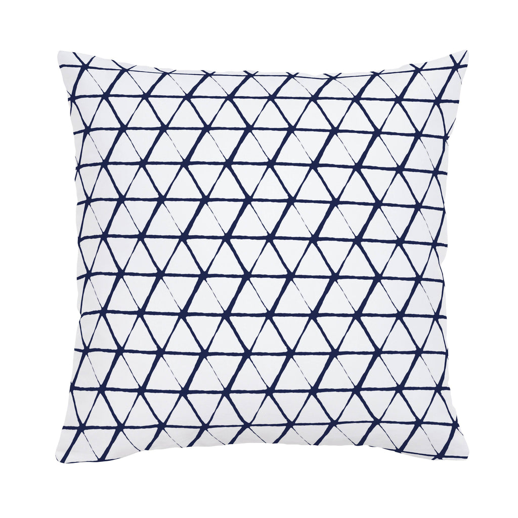 Product image for White and Navy Aztec Triangles Throw Pillow