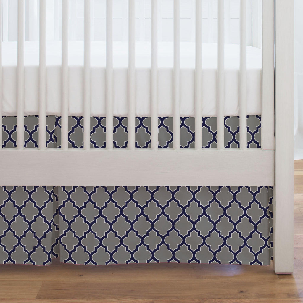 Product image for Cloud and Navy Hand Drawn Quatrefoil Crib Skirt Single-Pleat