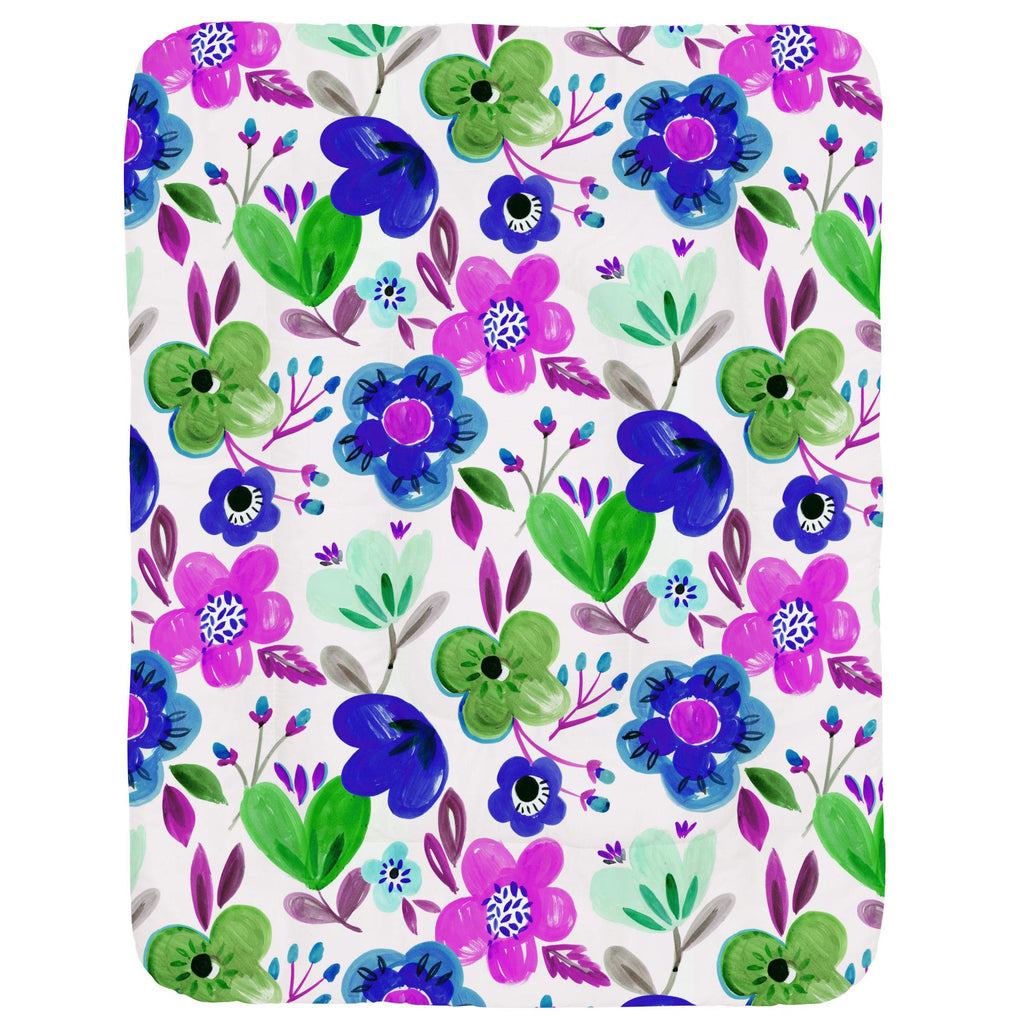 Product image for Purple Painted Flowers Crib Comforter