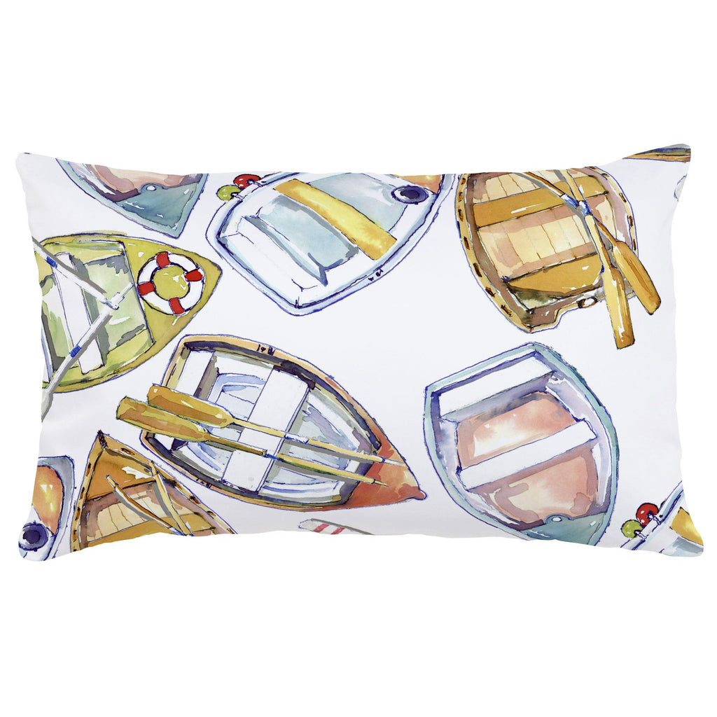 Product image for Watercolor Boats Lumbar Pillow
