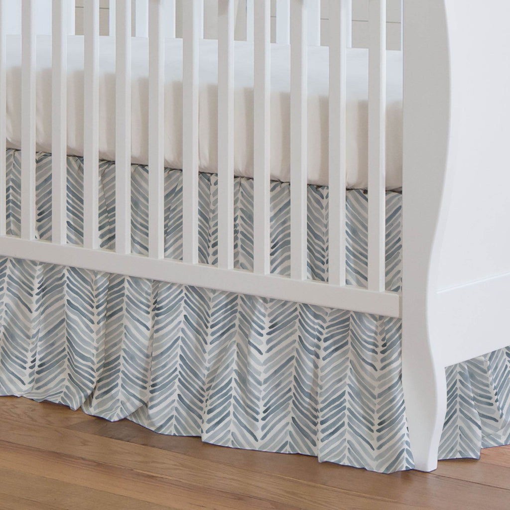 Product image for Steel Blue Painted Chevron Crib Skirt Gathered
