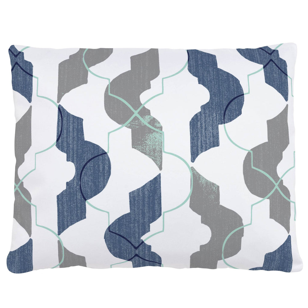 Product image for Denim and Gray Modern Quatrefoil Accent Pillow