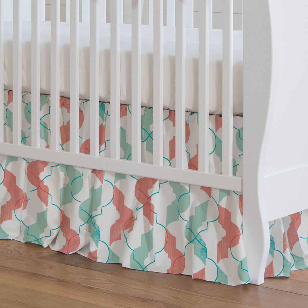 Product image for Coral and Teal Modern Quatrefoil Crib Skirt Gathered