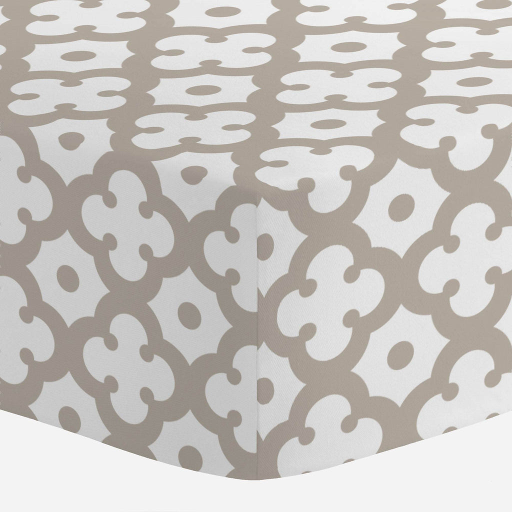 Product image for Taupe Moroccan Tile Crib Sheet