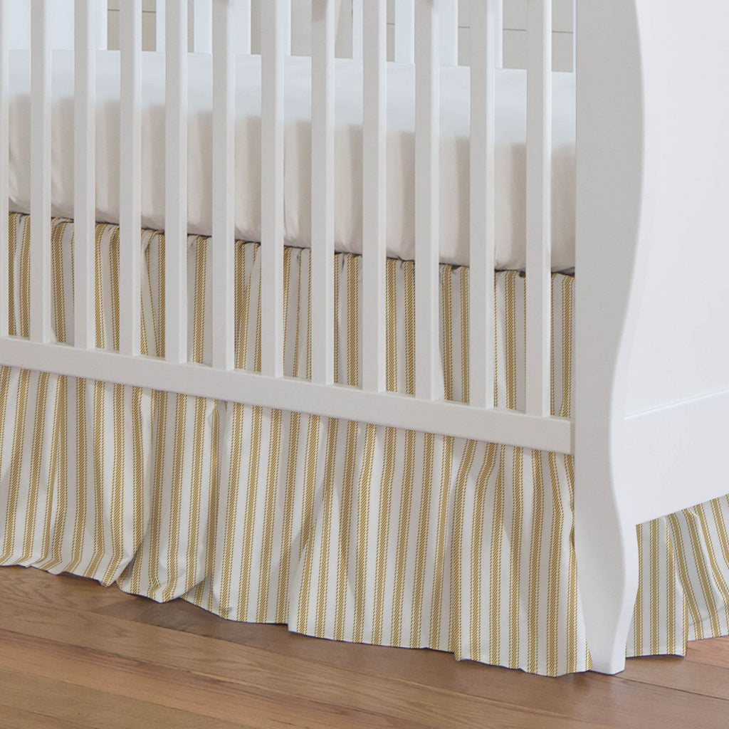 Product image for Mustard Ticking Stripe Crib Skirt Gathered