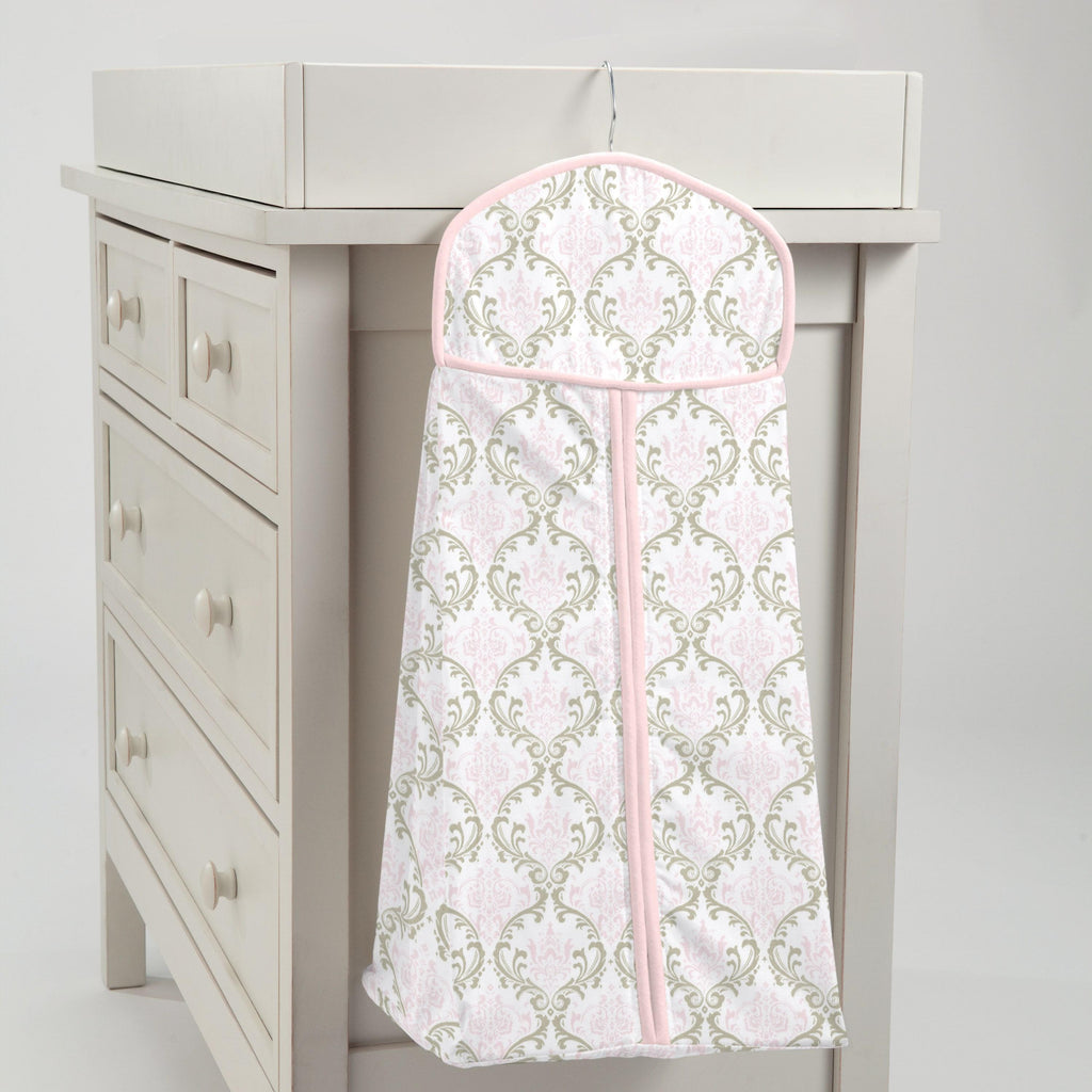 Product image for Pink and Taupe Damask Diaper Stacker