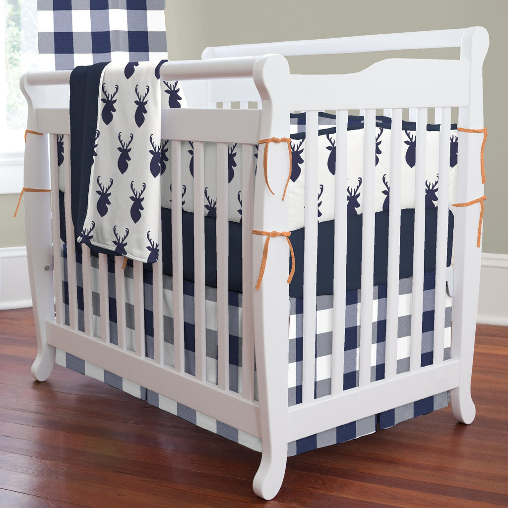 Product image for Windsor Navy Deer Head Mini Crib Bumper