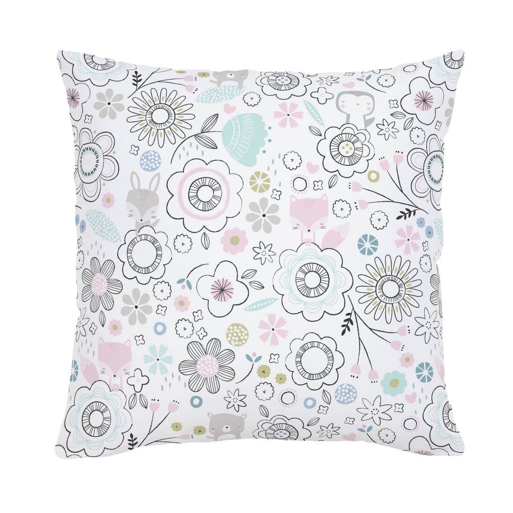 Product image for Pink Spring Doodles Throw Pillow