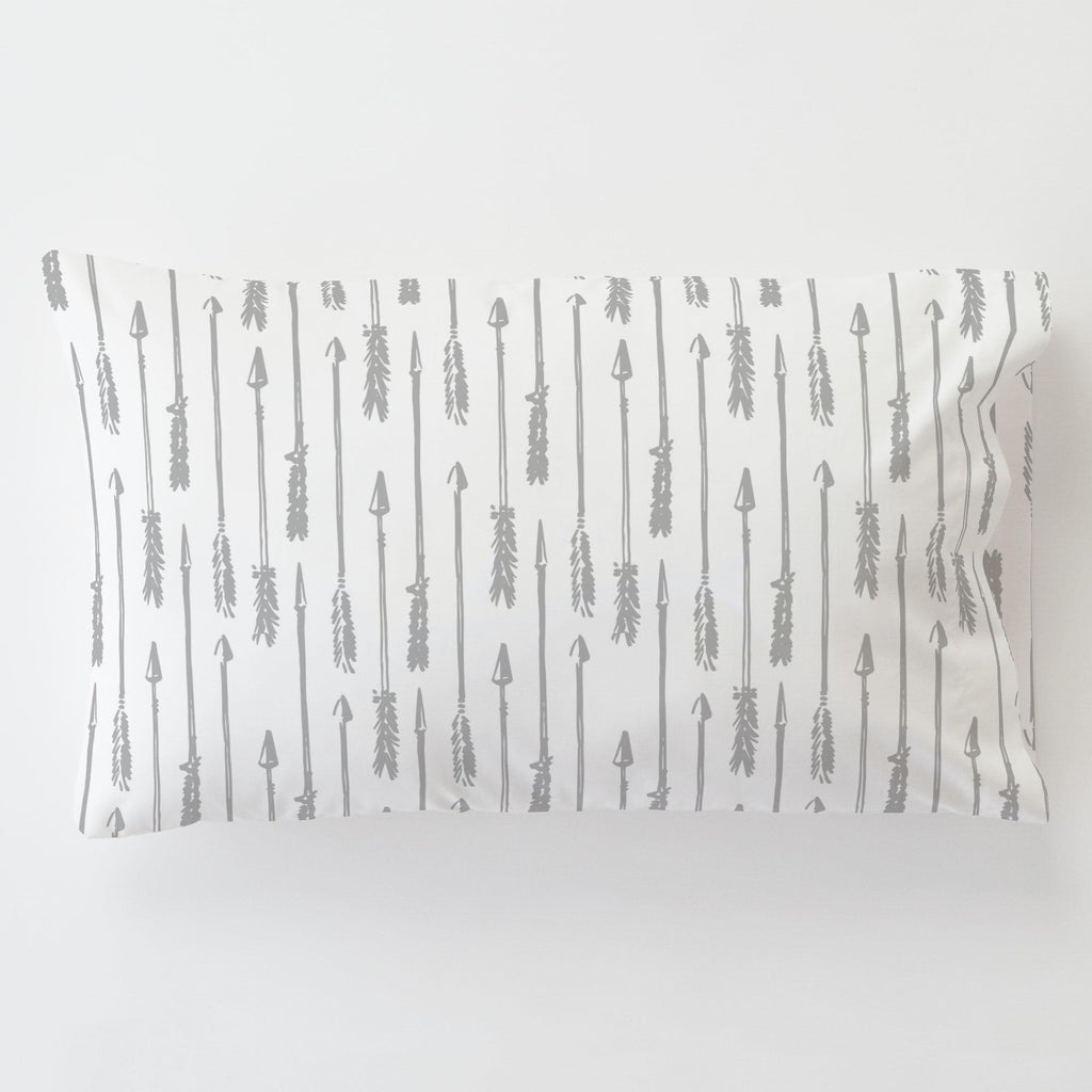 Product image for Silver Gray Hand Drawn Arrow Toddler Pillow Case with Pillow Insert