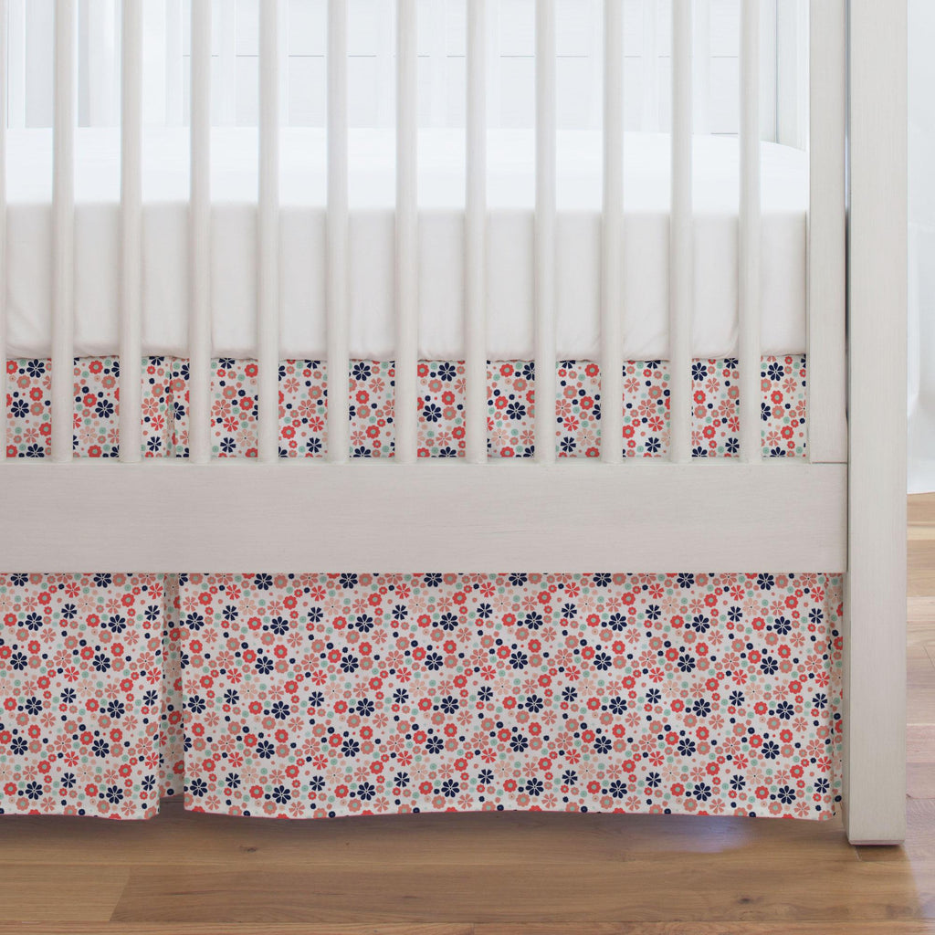 Product image for Coral Spring Flowers Crib Skirt Single-Pleat