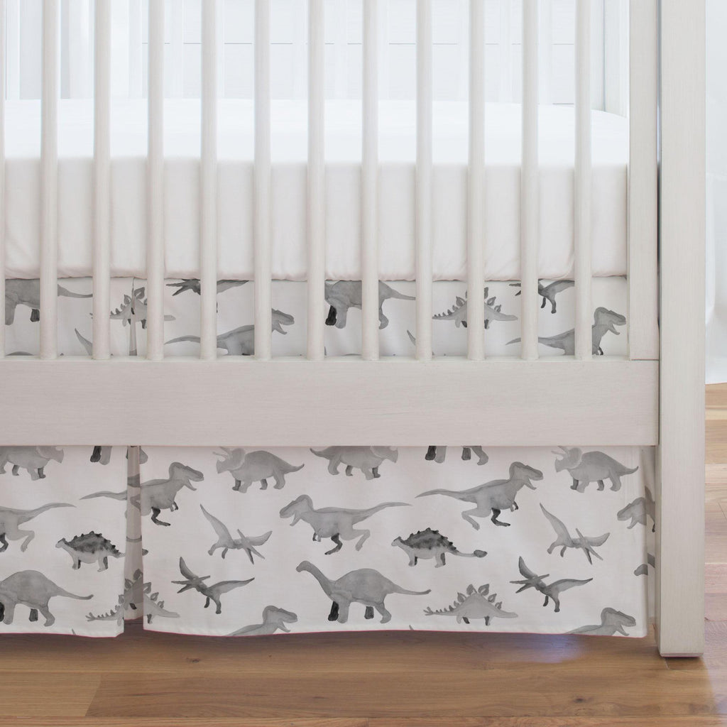 Product image for Gray Watercolor Dinosaurs Crib Skirt Single-Pleat
