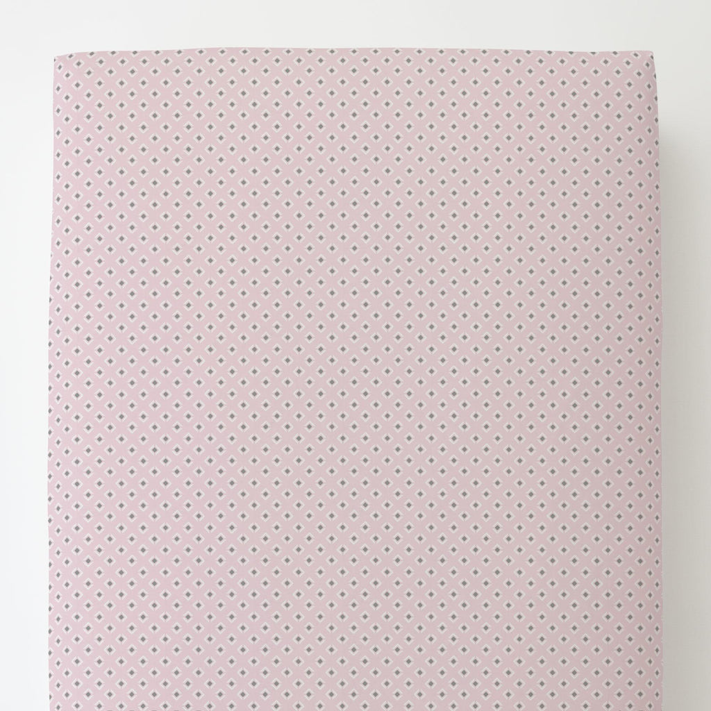 Product image for Pink and Gray Diamond Toddler Sheet Bottom Fitted