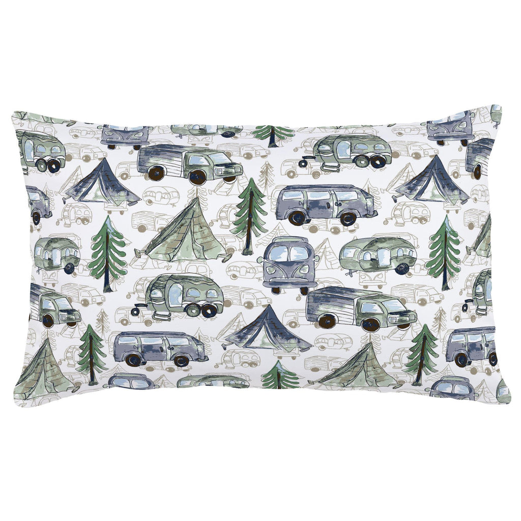 Product image for Navy and Seafoam Gone Camping Lumbar Pillow