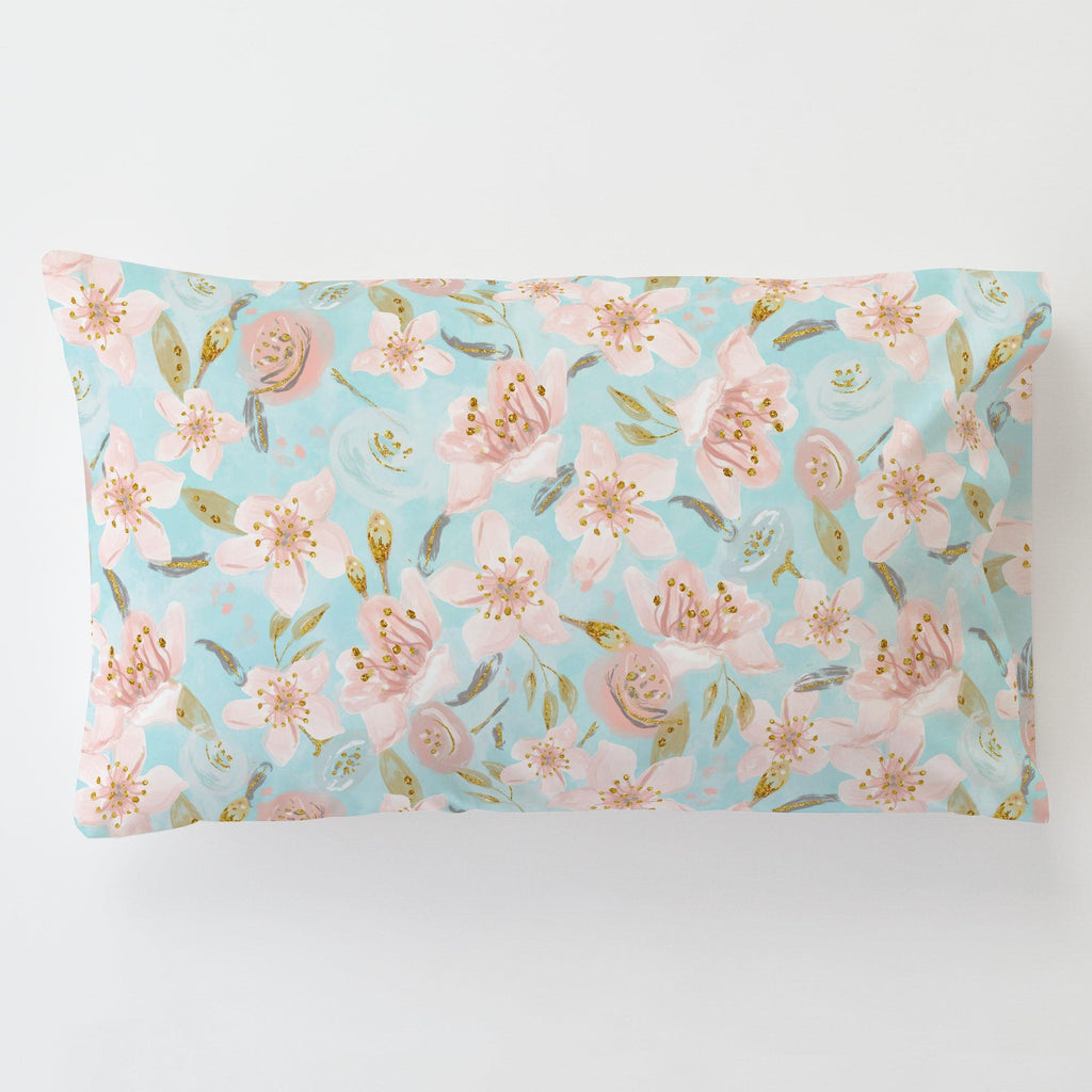Product image for Aqua and Pink Hawaiian Floral Toddler Pillow Case with Pillow Insert