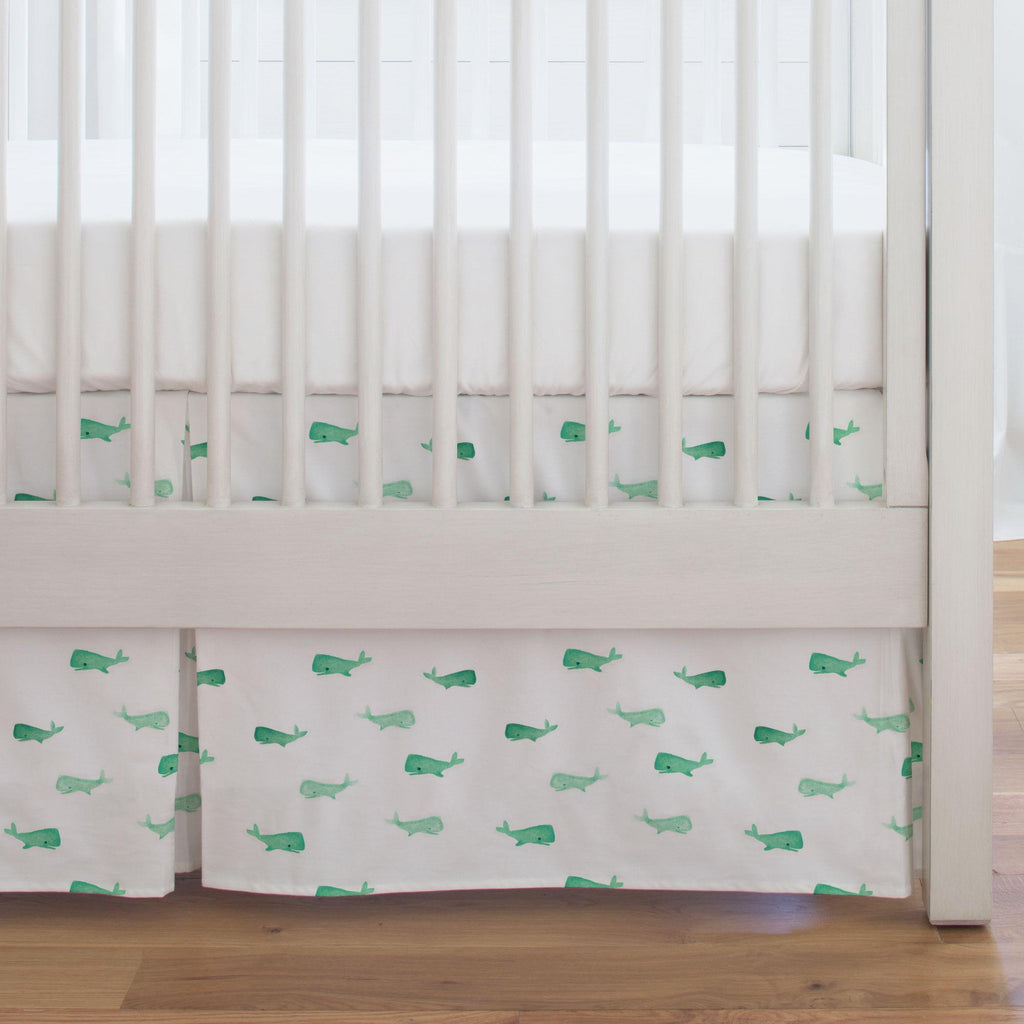 Product image for Mint Whale of a Tale Crib Skirt Single-Pleat