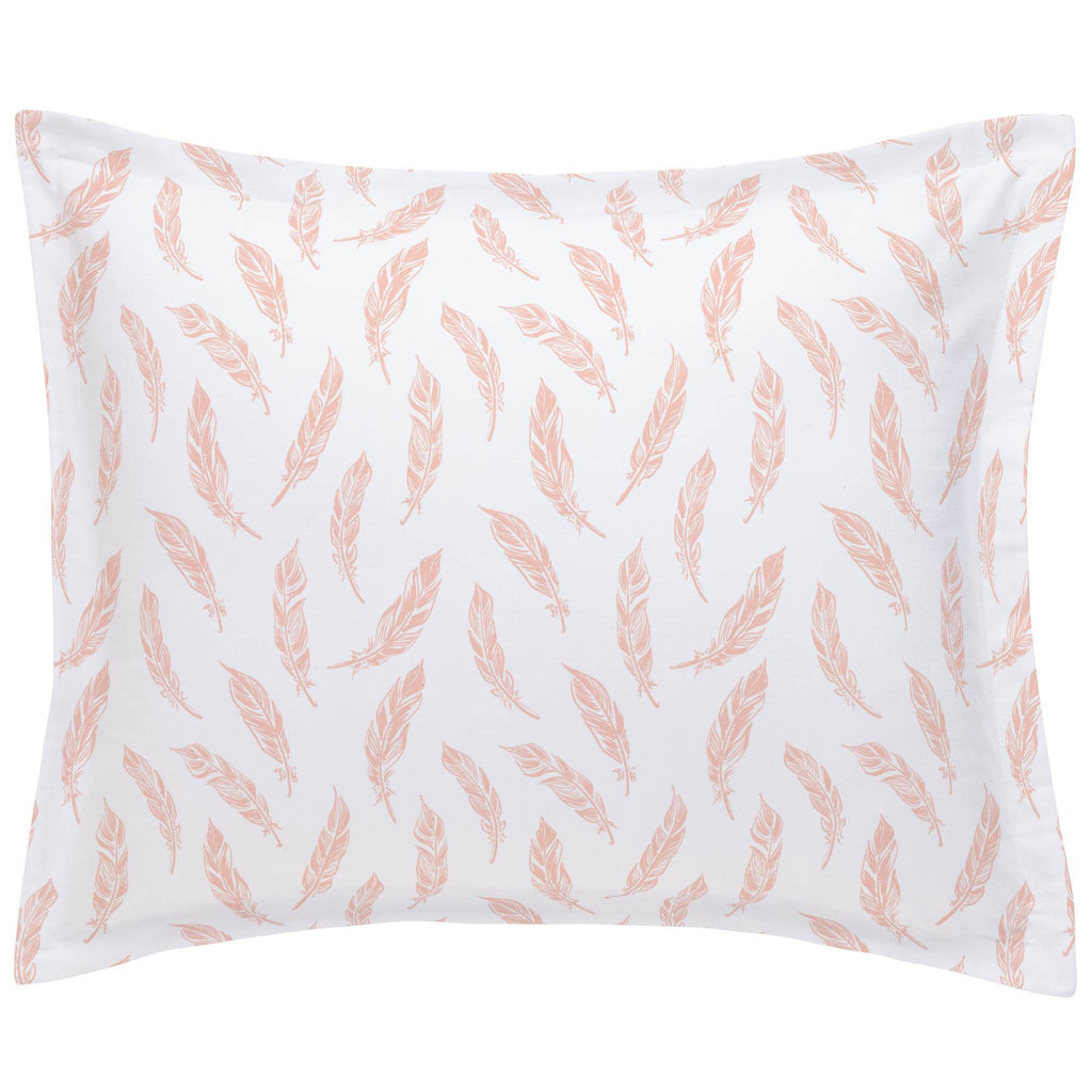 Product image for Peach Hand Drawn Feathers Pillow Sham