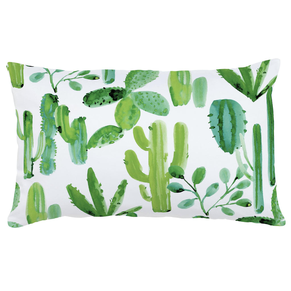 Product image for Green Painted Cactus Lumbar Pillow