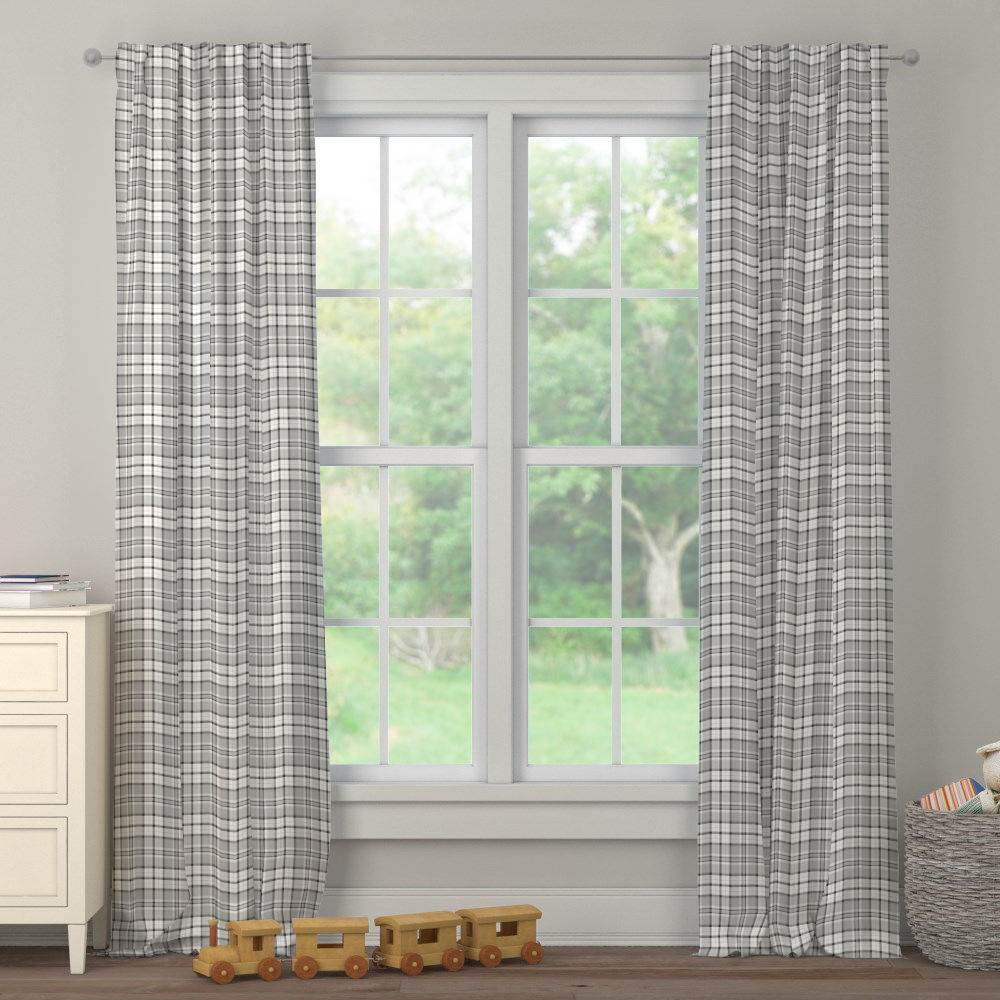 Product image for Gray Plaid Drape Panel