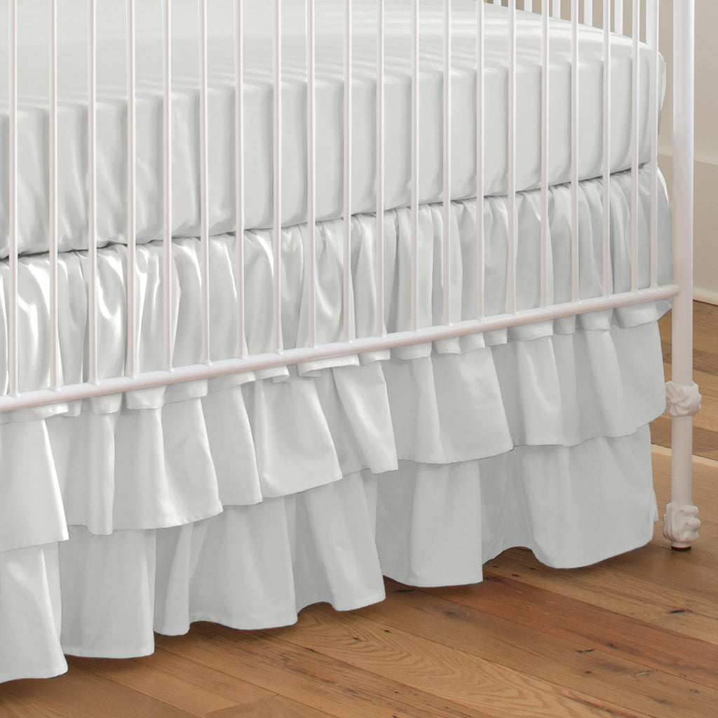 Product image for Solid Silver Gray Crib Skirt 3-Tiered