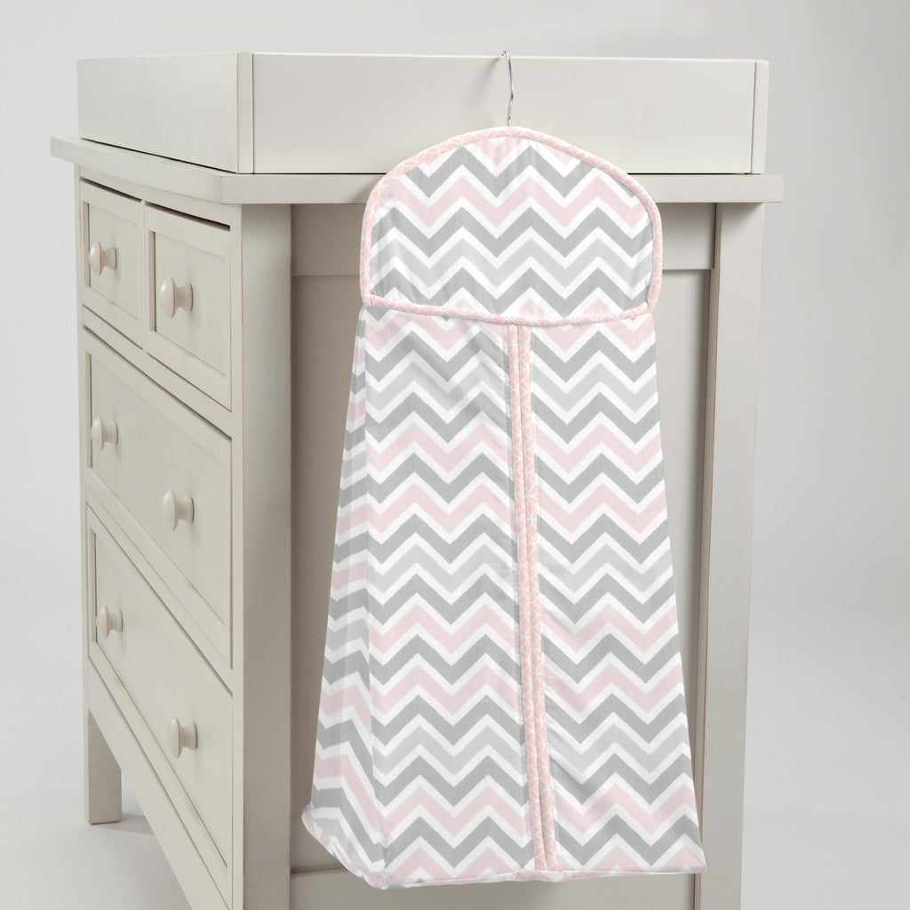 Product image for Pink and Gray Chevron Diaper Stacker