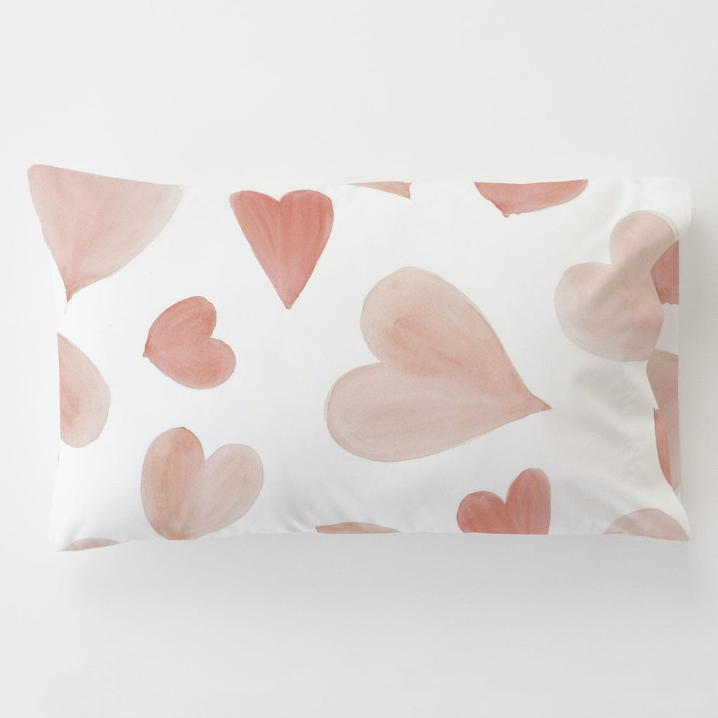 Product image for Peach Watercolor Hearts Toddler Pillow Case with Pillow Insert
