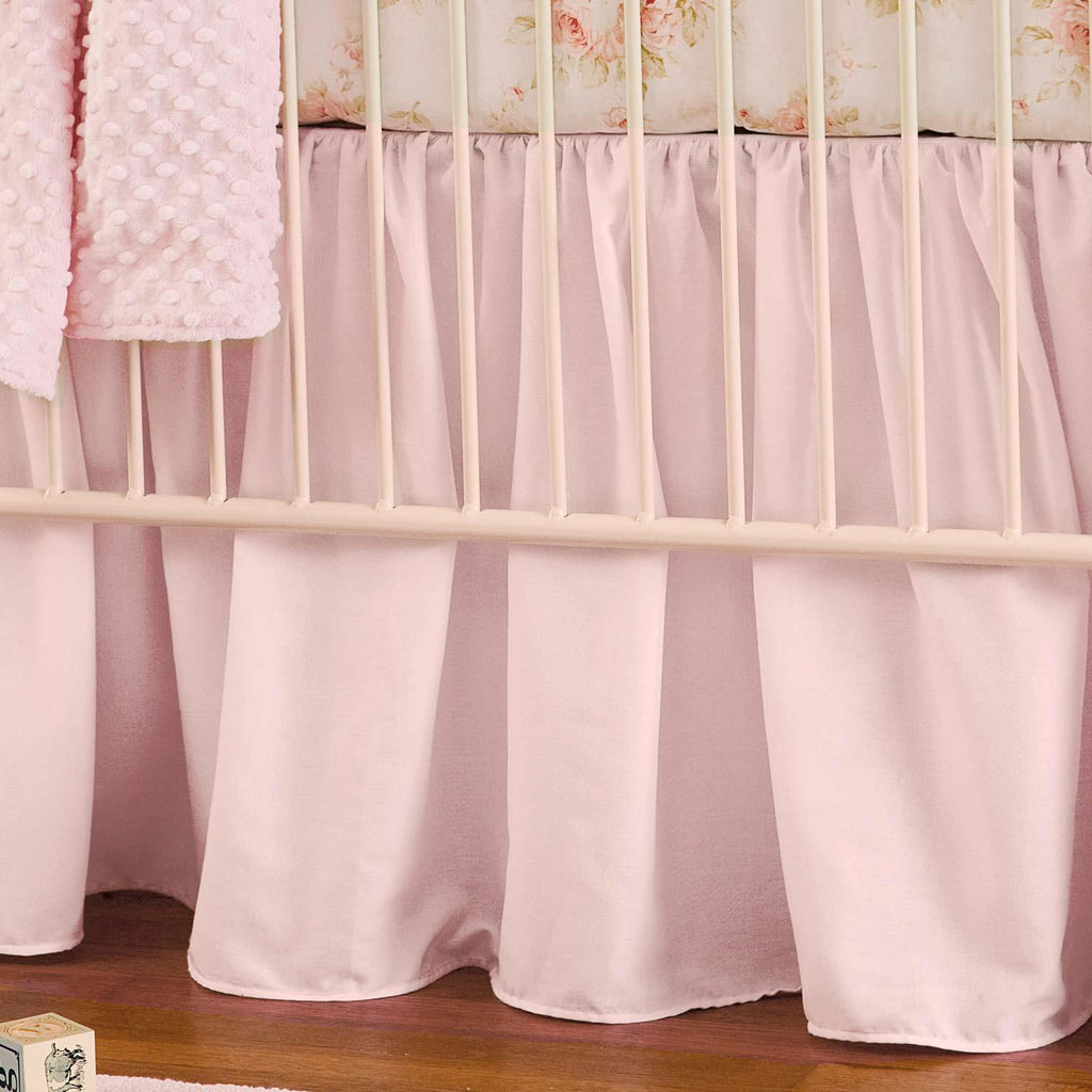 Product image for Solid Pink Crib Skirt Gathered