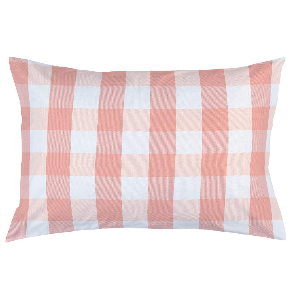 Product image for Light Coral and Peach Buffalo Check Pillow Case