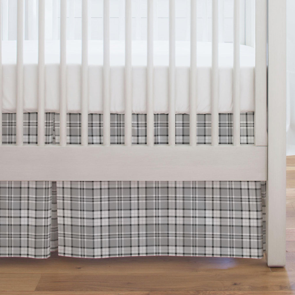 Product image for Gray Plaid Crib Skirt Single-Pleat