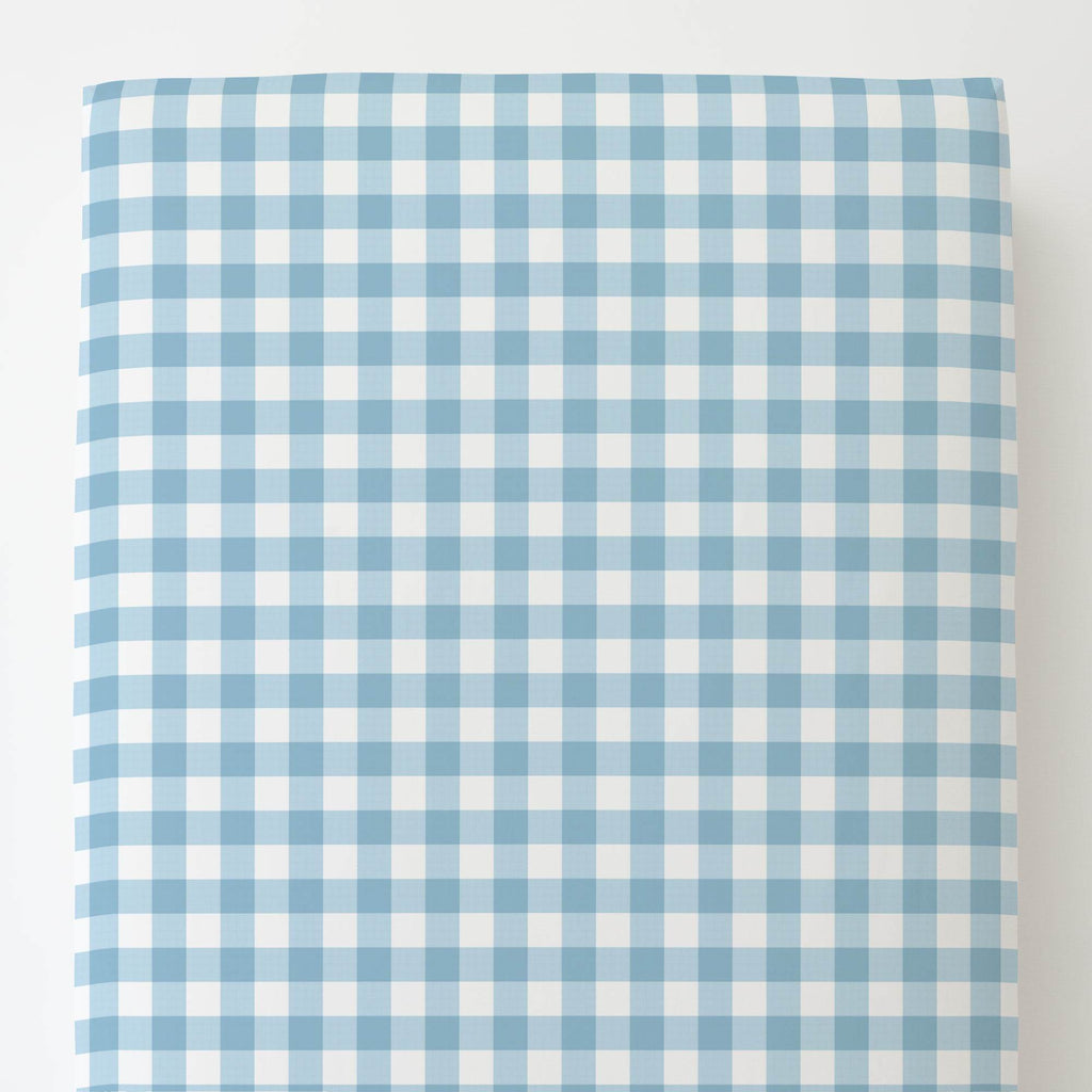 Product image for Lake Blue Gingham Toddler Sheet Bottom Fitted