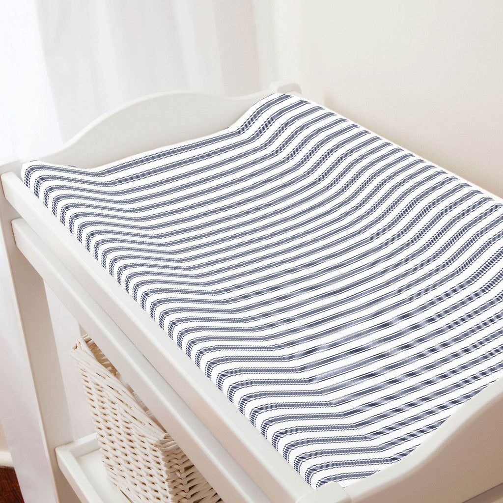 Product image for Windsor Navy Ticking Stripe Changing Pad Cover