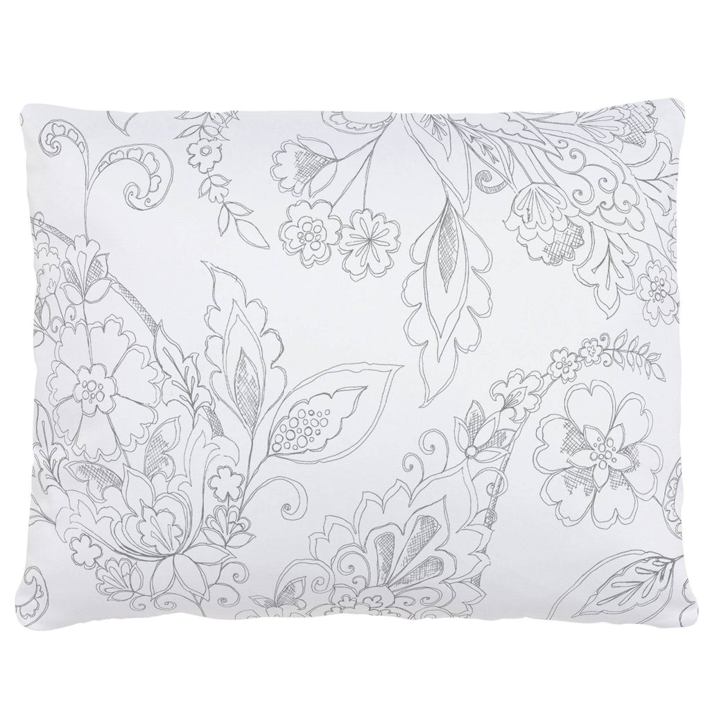 Product image for Cloud Gray Sketchbook Floral Accent Pillow