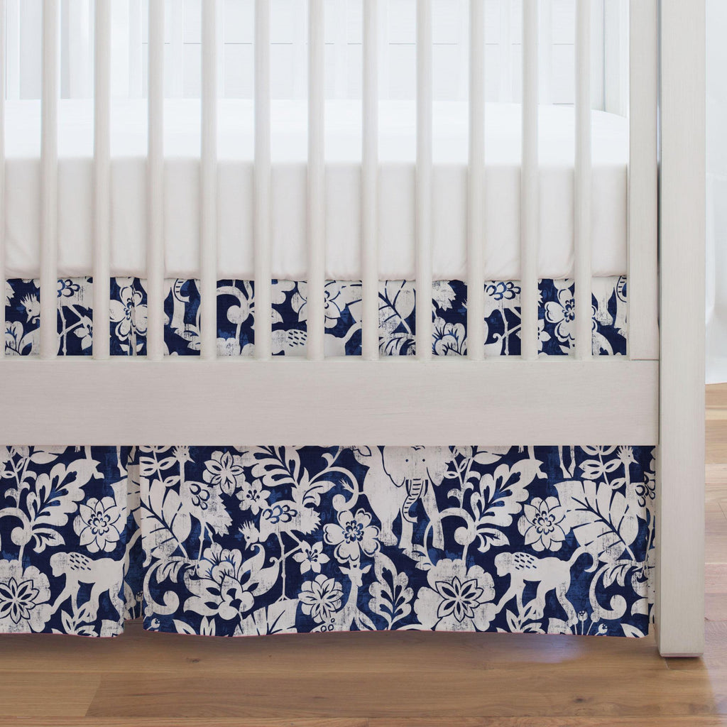 Product image for Navy and White Jungle Crib Skirt Single-Pleat