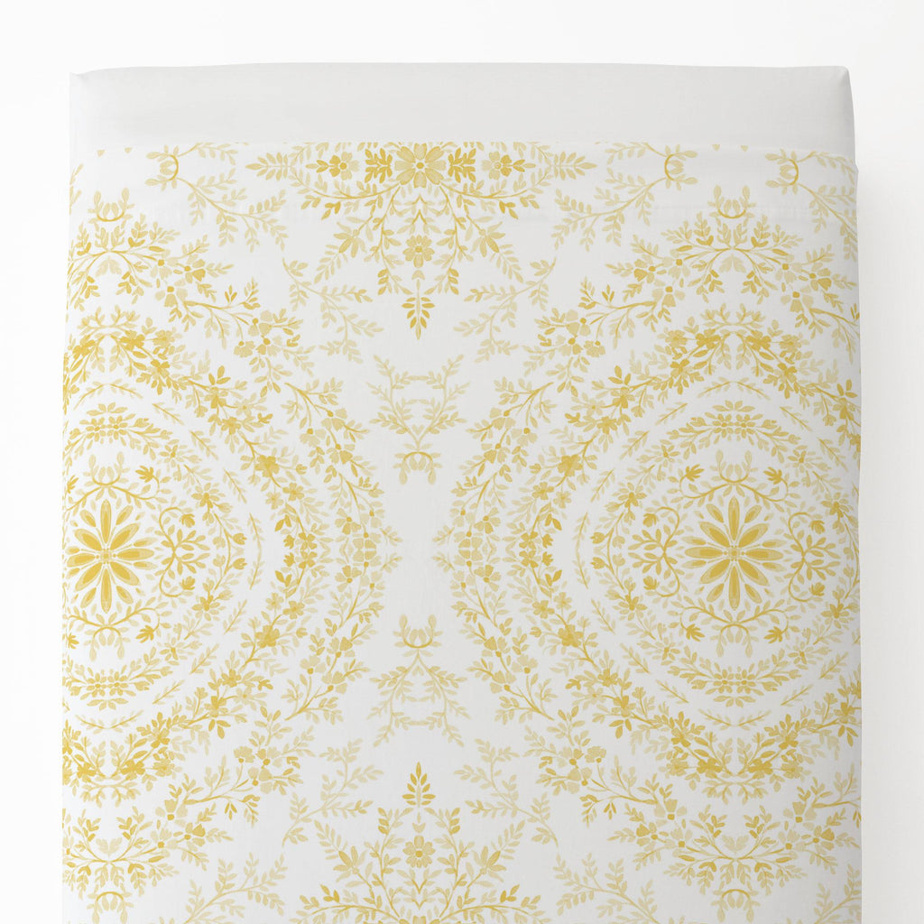 Product image for Yellow Floral Damask Toddler Sheet Top Flat
