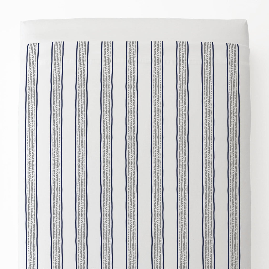 Product image for Navy and Gray Beach Stripe Toddler Sheet Top Flat