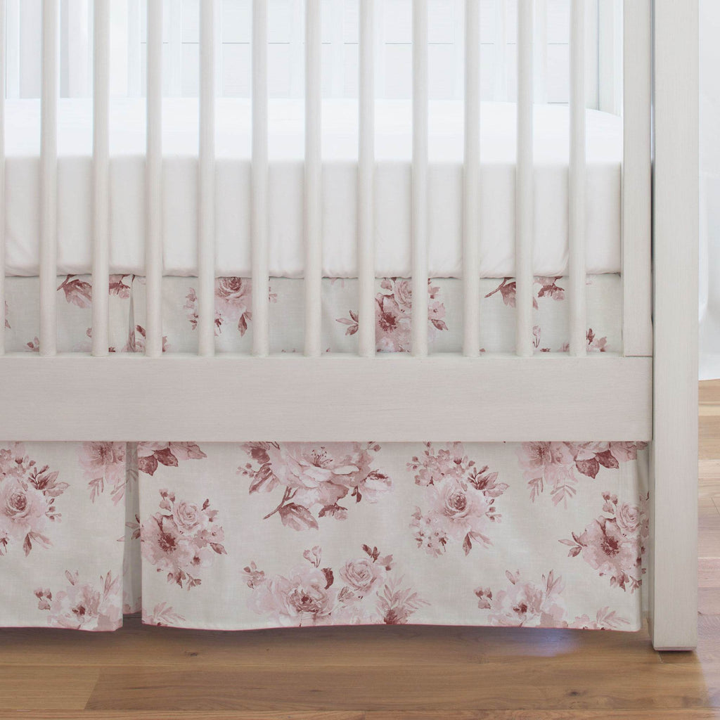 Product image for Rose Farmhouse Floral Crib Skirt Single-Pleat