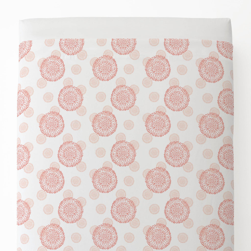 Product image for Light Coral and Peach Dandelion Toddler Sheet Top Flat