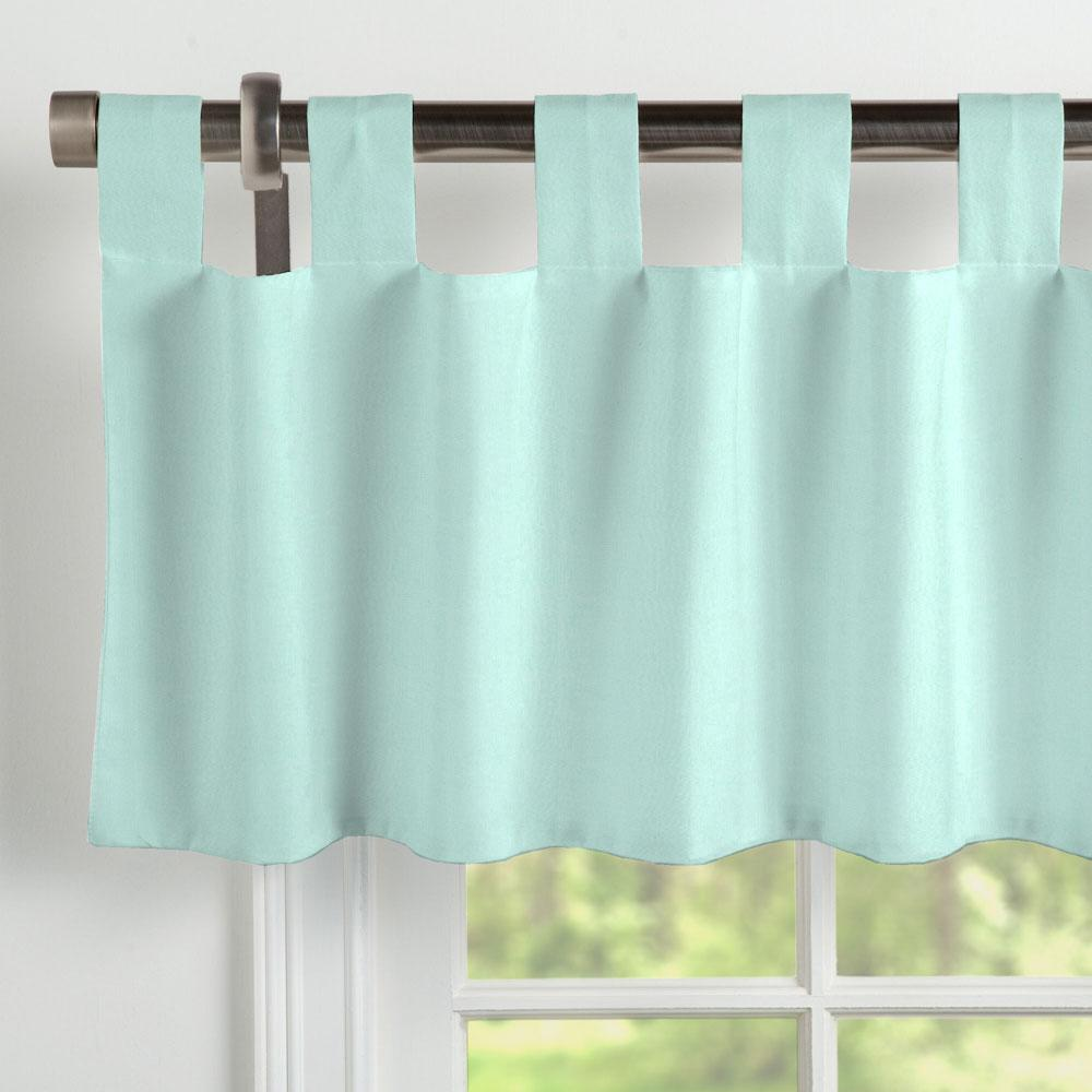 Product image for Solid Seafoam Aqua Window Valance Tab-Top