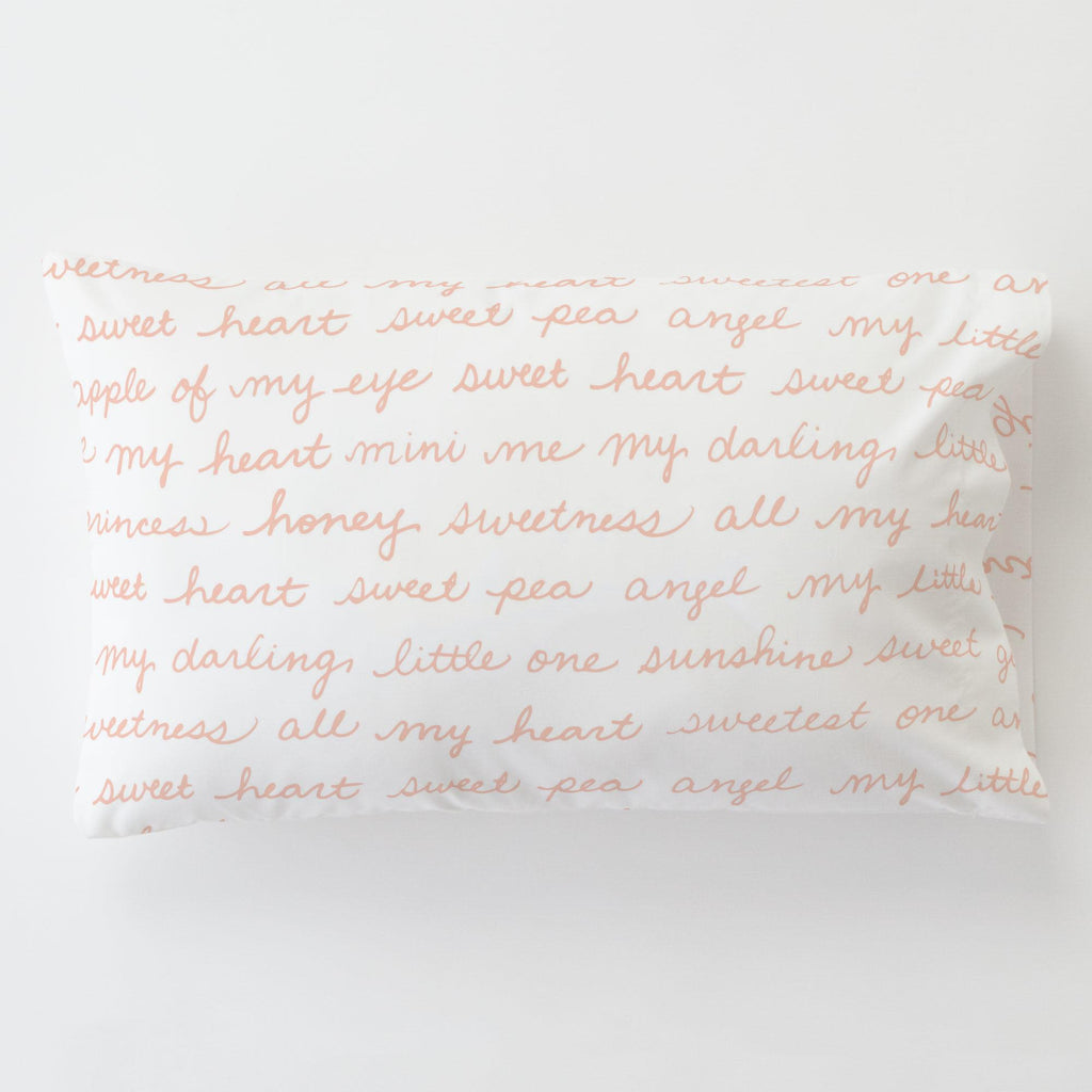 Product image for Peach Sweet Girl Toddler Pillow Case with Pillow Insert