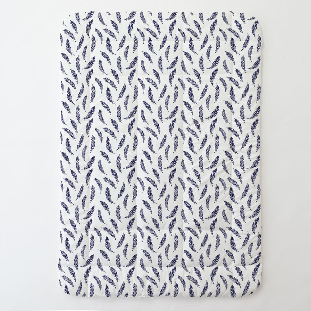 Product image for Navy Hand Drawn Feathers Toddler Comforter