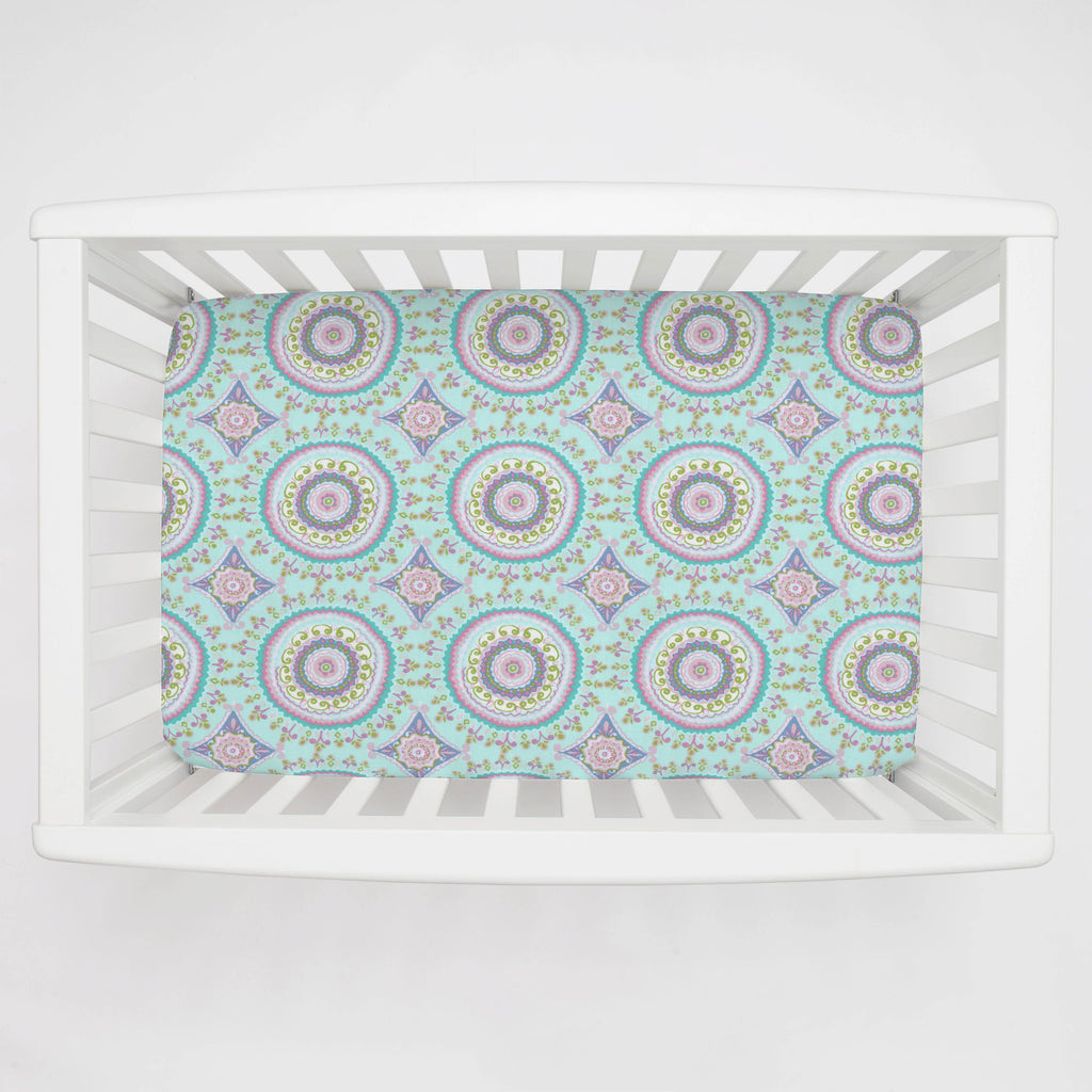 Product image for Aqua Haute Circles Mini Crib Sheet