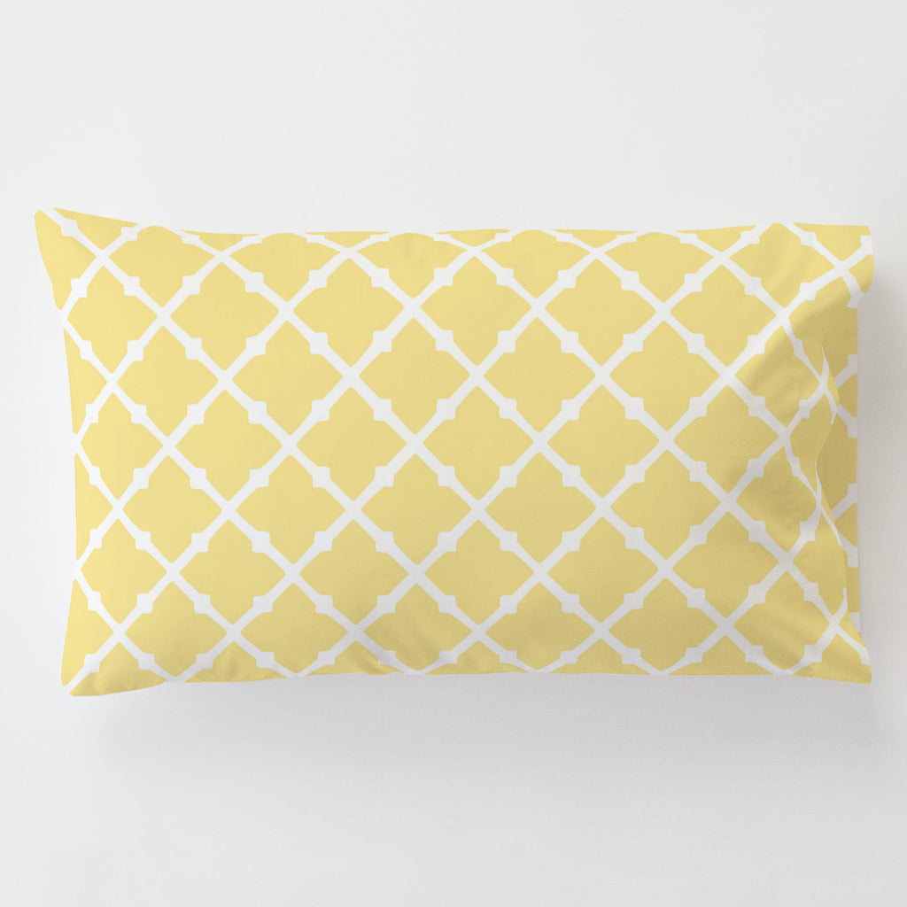 Product image for Banana Yellow Lattice Toddler Pillow Case with Pillow Insert