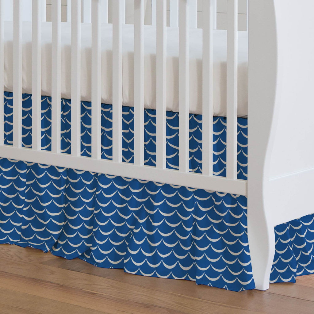 Product image for Ocean Blue Waves Crib Skirt Gathered
